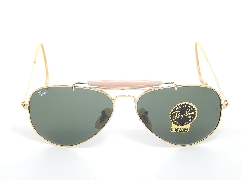27c6fa901d Amazon.com  Ray Ban Outdoorsman RB3030 L0216 Gold Green Classic 58mm  Sunglasses  Clothing
