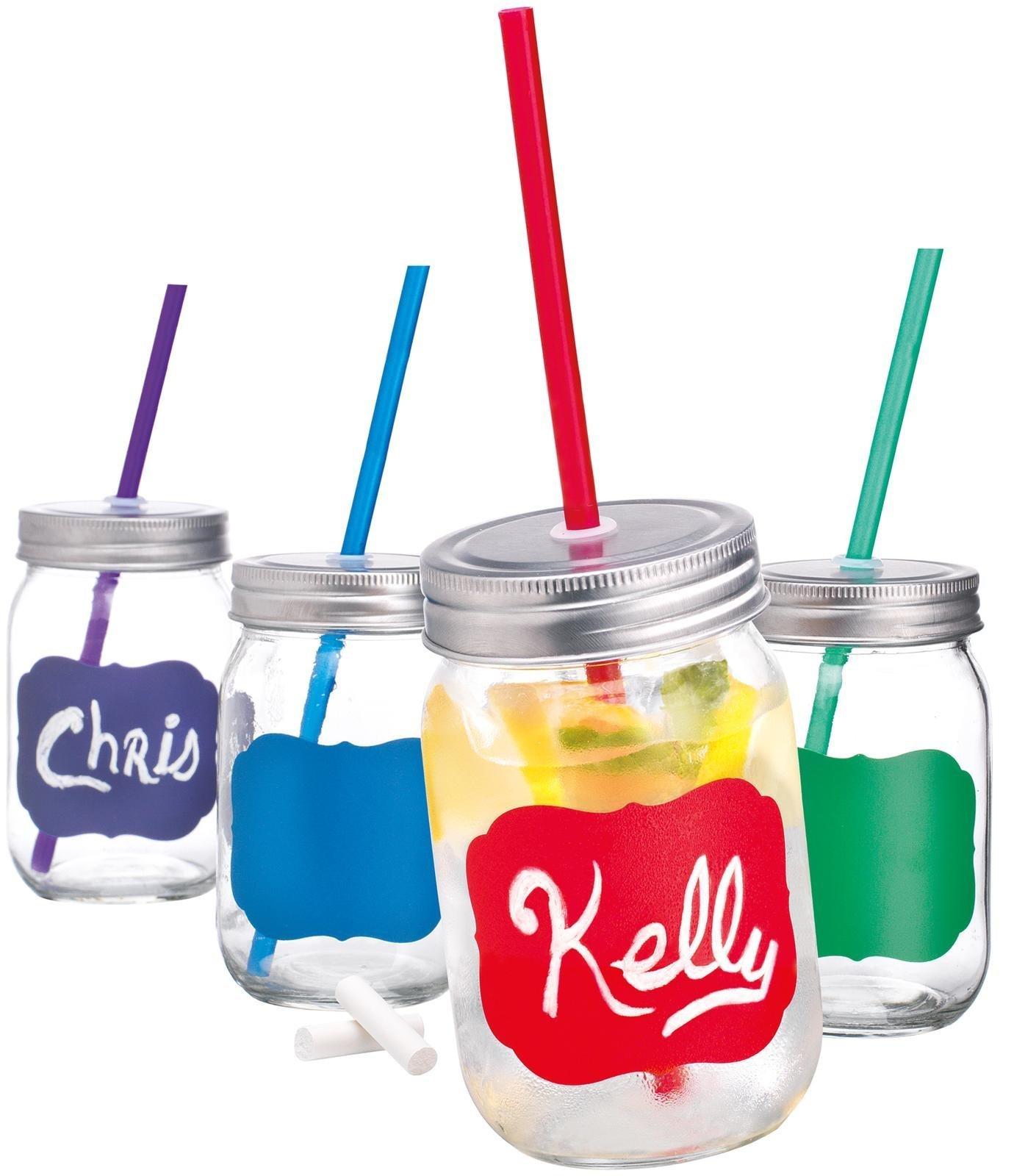 Home Essentials Chalk It 15 oz Mason Jars, Set of 4 (Assorted)