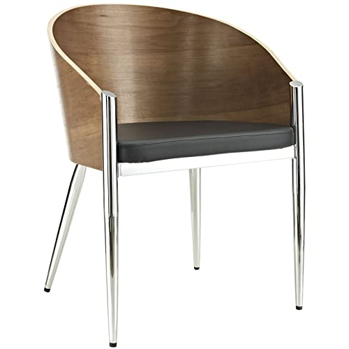 Lexington Modern EEI-604-SLV Cooper Mid-Century in Faux Leather Upholstered Seat and Chrome Metal Legs, One Chair, Silver