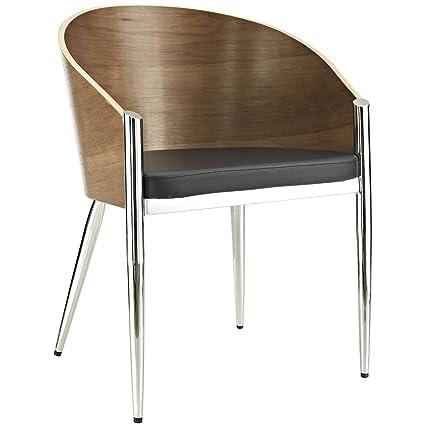 amazon com modway philippe starck style pratfall chair with chrome