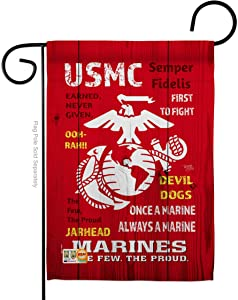 """Breeze Decor USMC Garden Flag Armed Forces Marine Corps Semper Fi United State American Military Veteran Retire Official House Decoration Banner Small Yard Gift Double-Sided, 13""""x 18.5"""", Made in USA"""