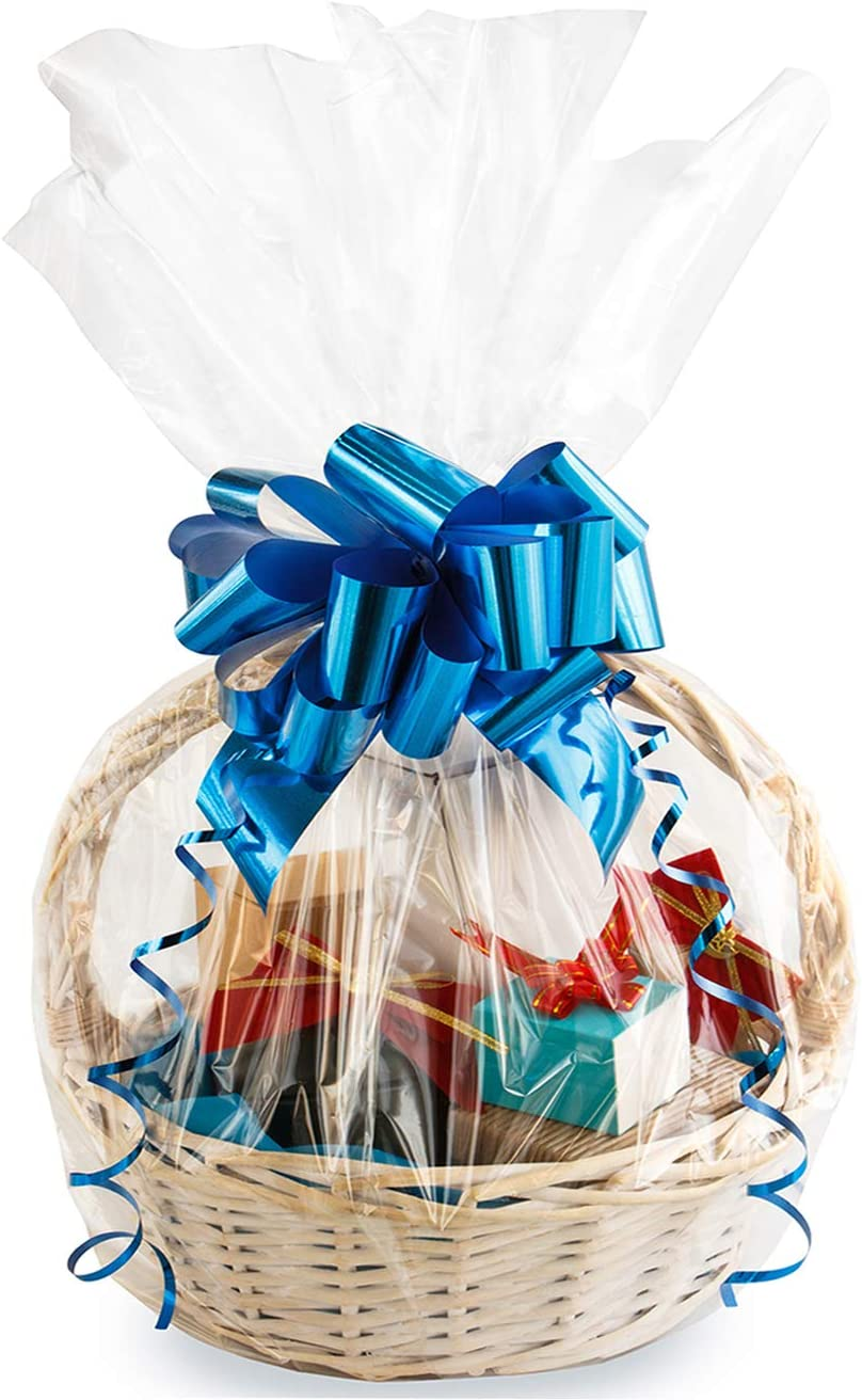 LARGE Clear Cellophane Stars Bag /& Bow HAMPER  Wrap DIY Gift Christmas Birthday