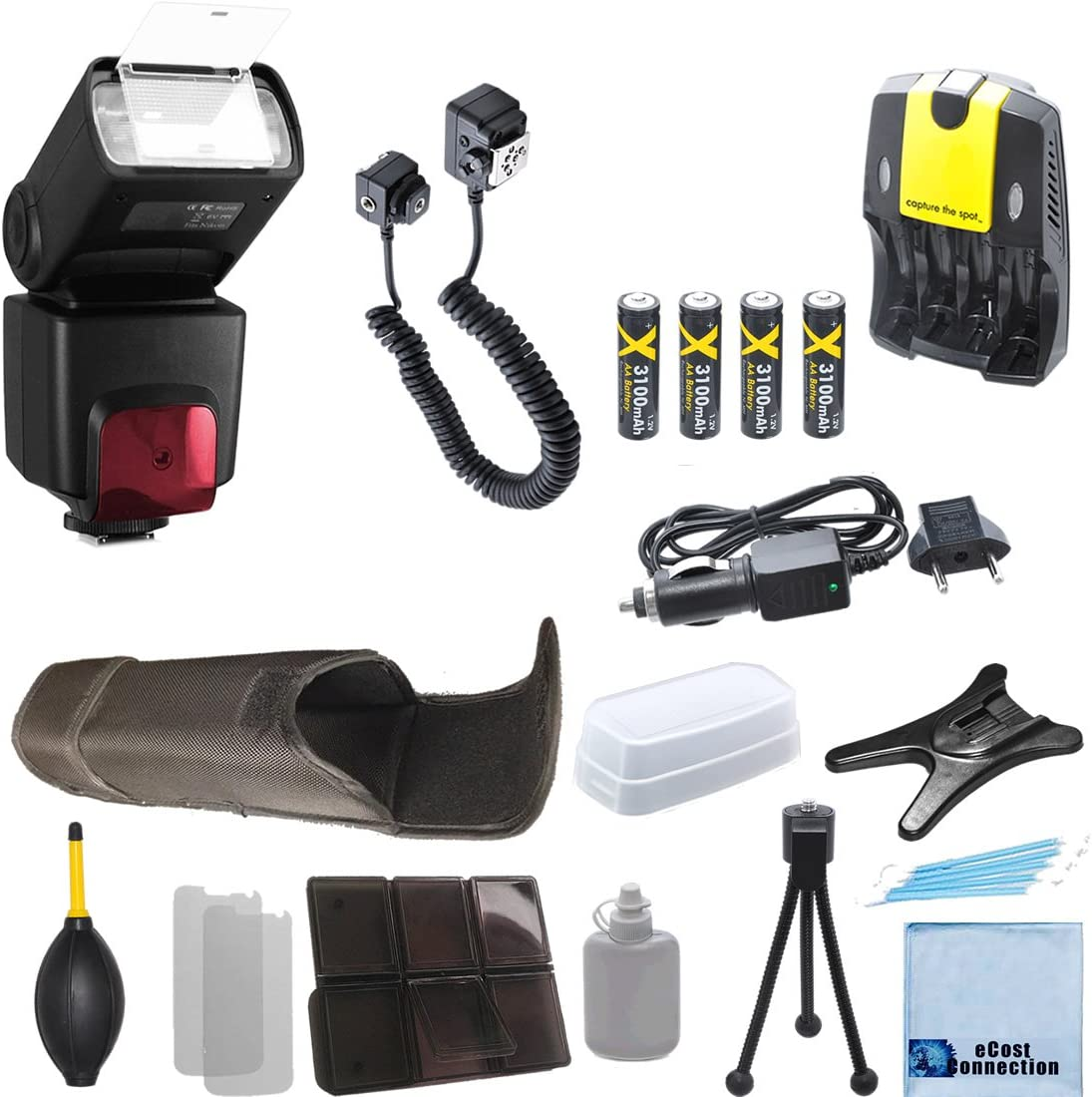 4 AA Battery Charger Deluxe Accessories Kit for Nikon D7000 D7100 D7200 D600 D610 D700 D800 D90 D5300 DSLR Pro Series Digital SLR Auto-Focus//Auto Power Zoom TTL Flash w//LCD Display Off Camera Shoe Cord