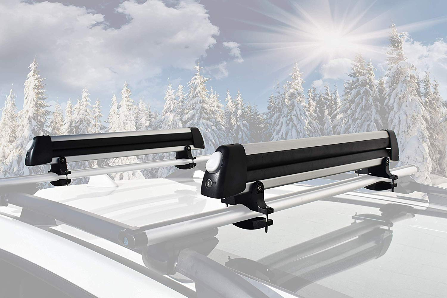 Booster goods CBL33 4 Pairs Ski Board// 2 Snowboards Booster Universal Car Ski Rack Snowboard Rack Roof Rack Ski Car Rack Fits 6 Pairs of Ski Board or 4 Snowboards Ski Roof Carrier Fit Most Vehicles