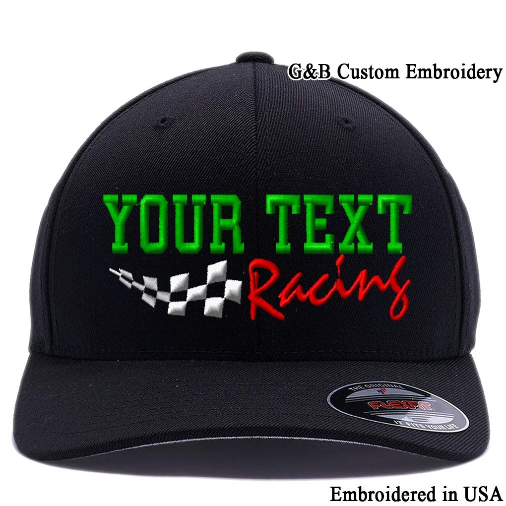 best authentic 9ffa7 a4baa Amazon.com  Yupoong Custom Embroidered Racing Hat. Place Your Own Text,  6477 Flexfit Wool Blend Cap.  Clothing