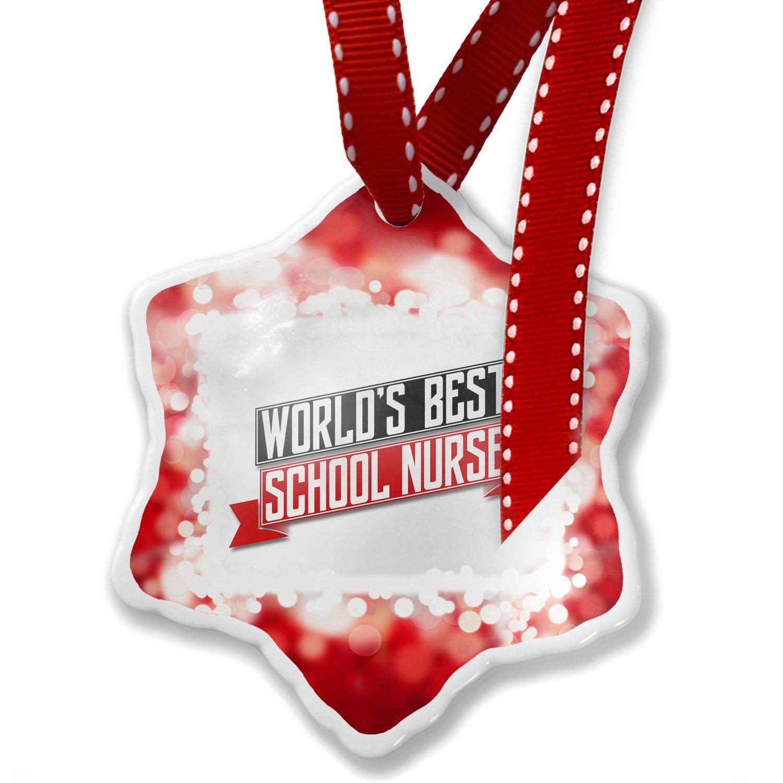 Christmas Ornament Worlds Best School Nurse, red - Neonblond
