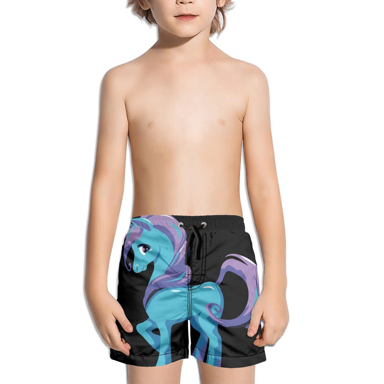 Ouxioaz Boys Swim Trunk Cartoon Blue Unicorn with Purple Hair Beach Board Shorts