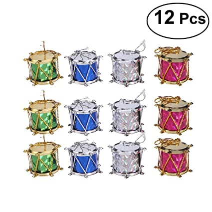 Christmas Drum Decor.Tinksky Colorful Glitter Mini Drum Christmas Tree Ornaments Hanging Decoration Pendant Christmas Holiday Wedding Party Decor 12pcs Assorted Color