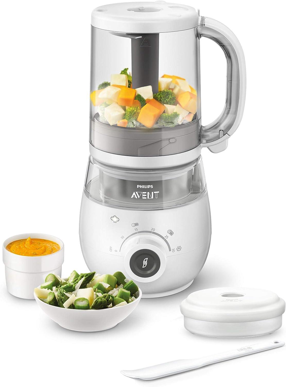Philips Avent SCF883/01 - Procesador de alimentos para bebé 4 en 1 en color blanco: cocina a vapor, tritura, descongela y calienta en un solo recipiente