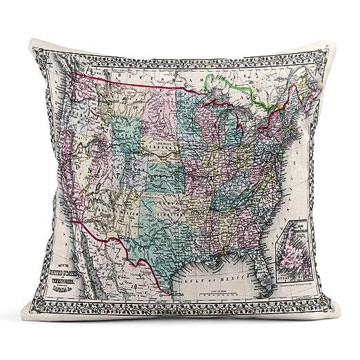 Kinhevao Cojín Vintage 1870 Mapa Antiguo Estados Unidos ...