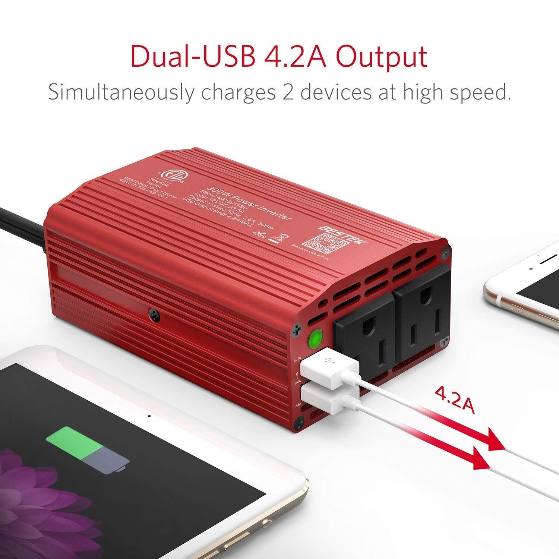 BESTEK Pure Sine Wave 300W Power Inverter DC 12V to AC 110V with 4.2A Dual Smart USB Ports Car Adapter Black Plus