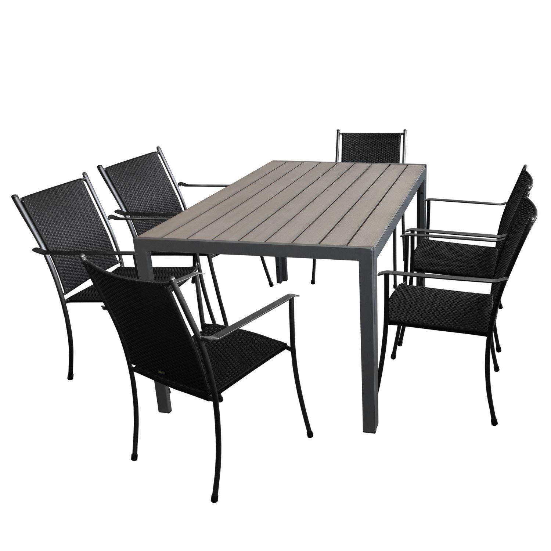 7tlg Gartengarnitur Gartentisch Aluminumrahmen, Polywoodtischplatte, 150x90cm Grau + 6X MWH Stapelstuhl mit Polyrattan-Bespannung, Anthrazit/Schwarz