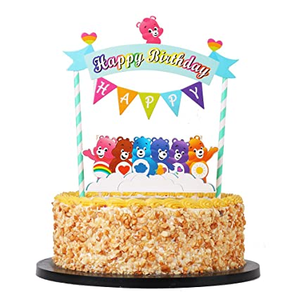 Image Unavailable Not Available For Color QIYNAO Mini Bear Happy Birthday Banner Cake