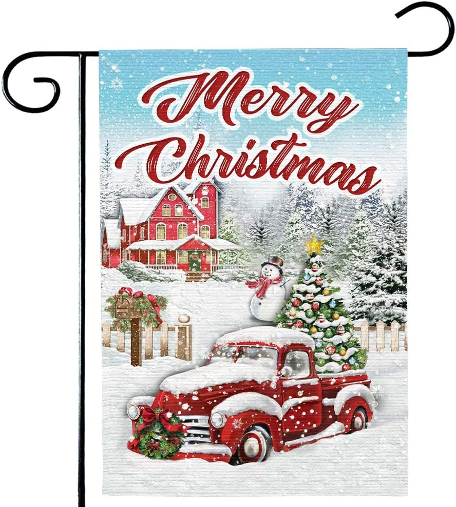 AUUXVA Christmas Garden Flag, Red Truck with Snow Vertical Double Sided Burlap House Flag 1218 Prime, Merry Christmas Winter Farmhouse Yard Flag, Seasonal Outdoor Decor