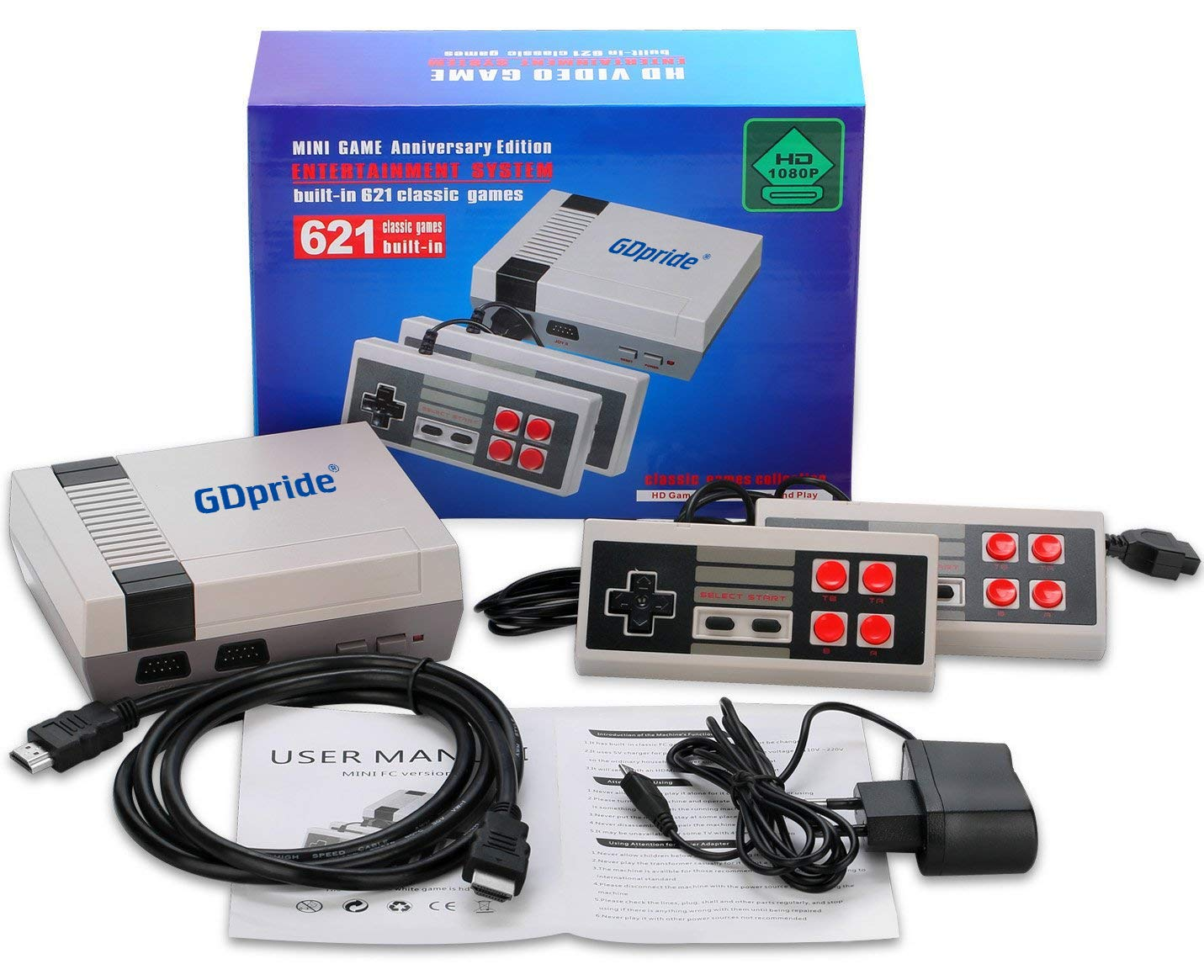 Classic Retro Game Consoles HD Edition - Professional System with 2 Controllers Built-in 621 Video Games, Professional System for NES Game Player GDpride