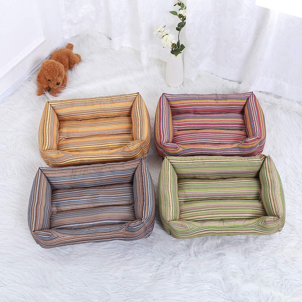 Aigou Dog Bed Pet Dog Bed Mats Soft colorful Striped Dog Beds For Large Dogs Sofa Kennels Cat'S House Big Blanket For Animals Pet Supplies