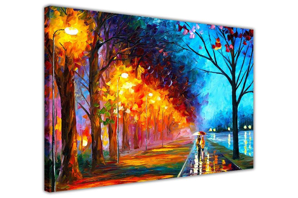 Alley By The Lake de Leonid Afremov, impression sur toile murale, art moderne, Toile, 01- A4 - 12' X 8' (30CM X 20CM) 01- A4 - 12 X 8 (30CM X 20CM) Canvas It Up