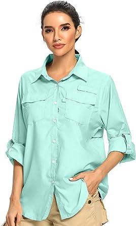Toomett Womens Long Sleeve uv Protection Hiking Shirts,Fishing Quick Dry Safari Camping Travelling Shirts for Women