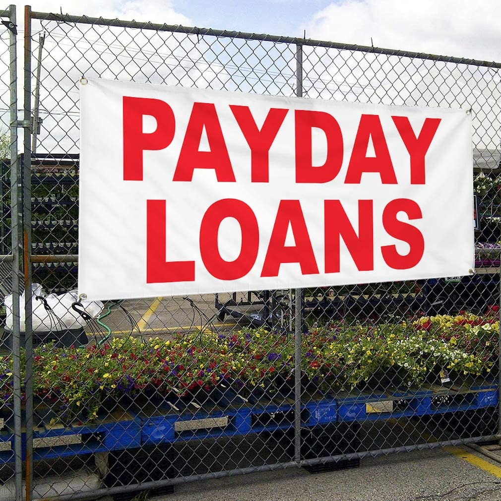 Vinyl Banner Multiple Sizes Payday Loans Red Business Outdoor Weatherproof Industrial Yard Signs 10 Grommets 60x144Inches