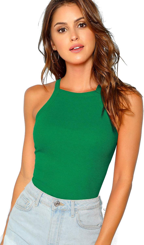 MakeMeChic Womens Sleeveless Racerback Knit Slim Summer Basic Halter Cami Top