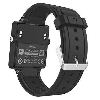 MoKo Garmin Vivoactive Correa de Reloj, Suave Silicona Reemplazo Watch Band para Garmin Vivoactive/Vivoactive Acetate Sports GPS Smartwatch - Negro