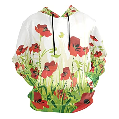 068eaff17 LORVIES Unisex Red Poppies Backround Pullover Hoodie Hooded ...