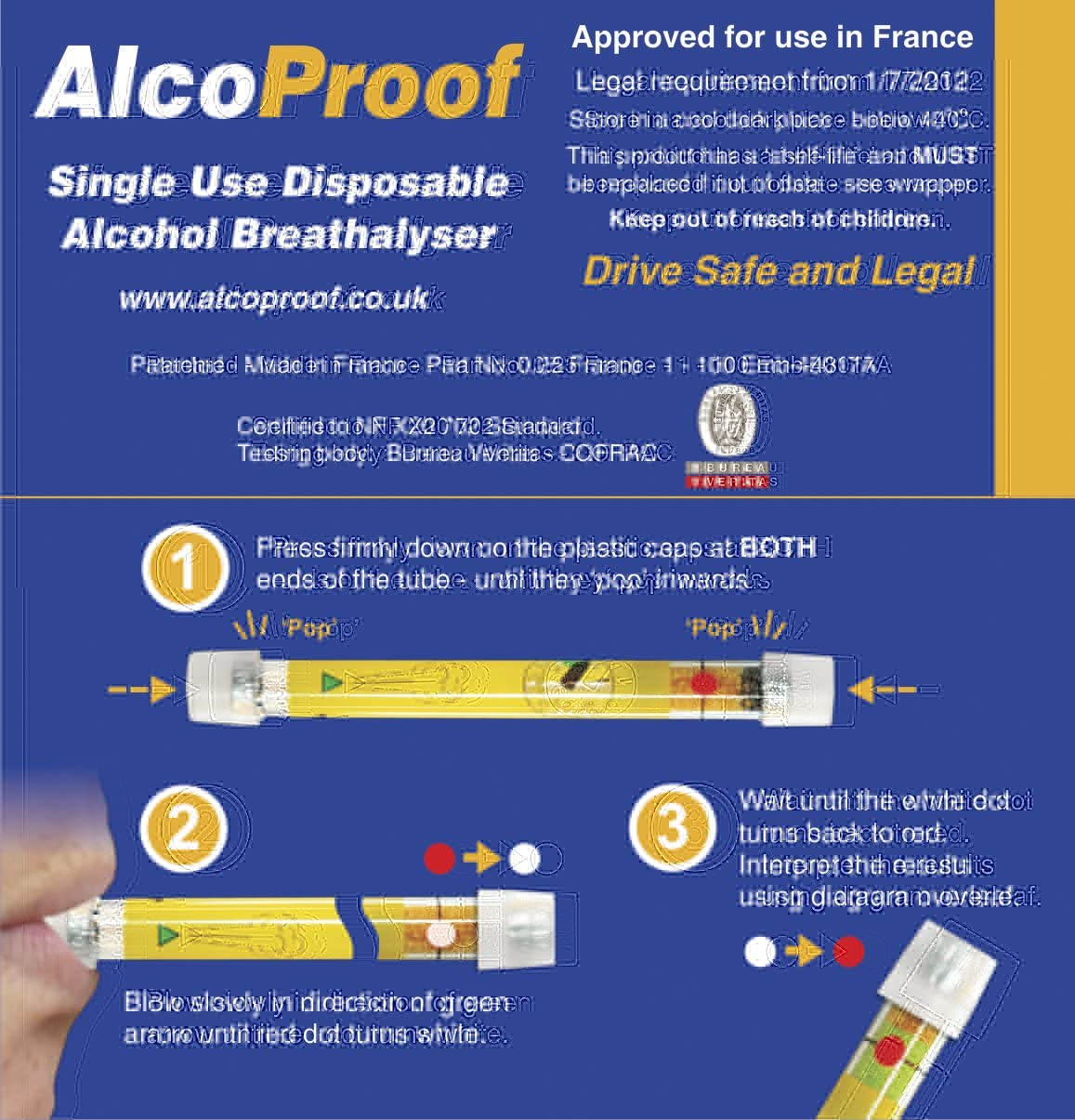 *kt NF 2 x Disposable Alcohol Breathalyser Breath Kit France French