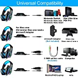 PS4 Headset,Xbox One Headphones,Gaming Headset with LED light,Stereo Gamer Headphones,3.5mm wired Over-ear Noise Isolating Microphone Volume Control for