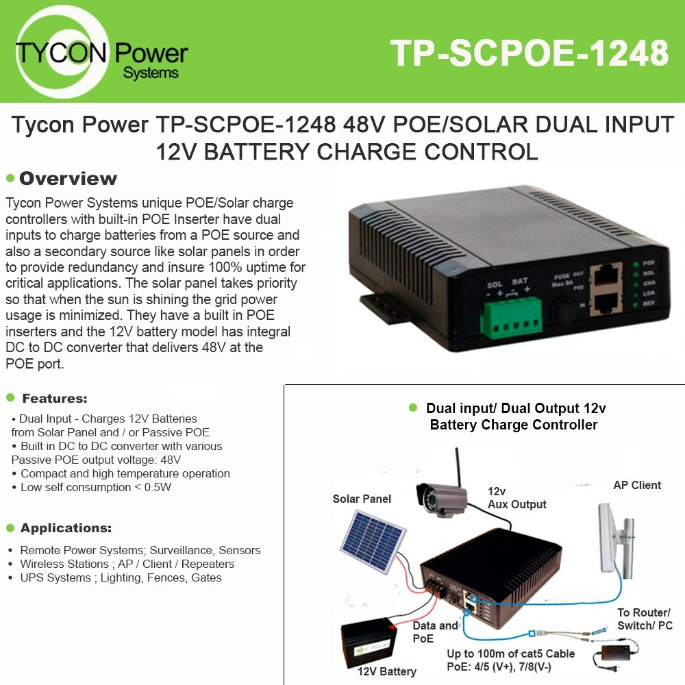 Tycon Systems TP-SCPOE-1248 Poe & Solar 8A Dual Input Battery Charging Controller - 12V In And 48V POE Out by Tycon Power Systems