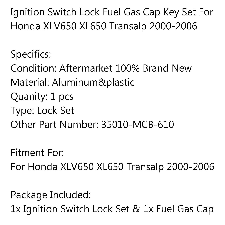 set di chiavi per H-O-N-D-A XLV650 XL650 Transalp 2000-2006 interruttore di accensione blocco del serbatoio del carburante Artudatech chiave di accensione con tappo del carburante per moto