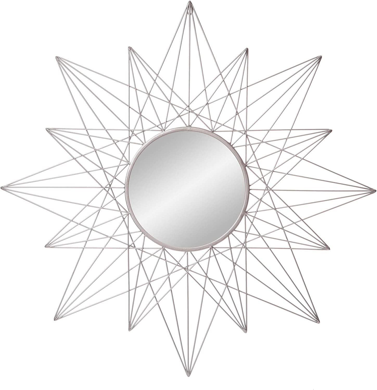 "36"" Silver Round Geometric Sunburst Wall Accent Mirror"