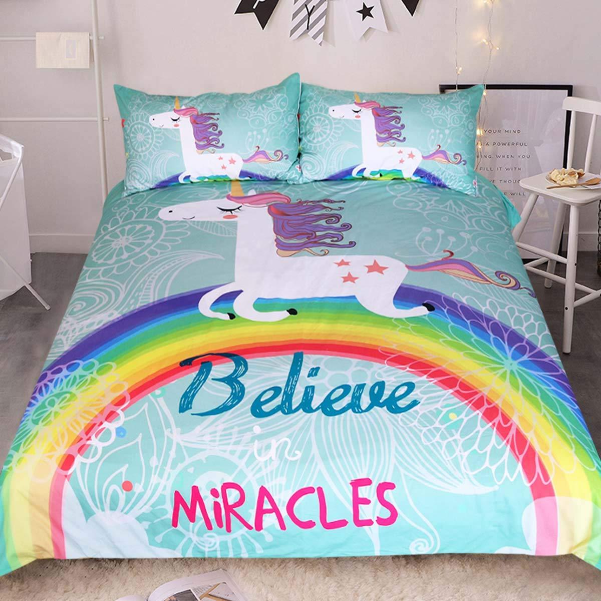 Sleepwish White Unicorn Bedding Rainbow Unicorn Duvet Cover 3 Piece Mint Green Kids Girls Cartoon Bed Set Cute Horse Gifts (Full)