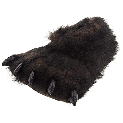 ef824bde3c2f Fuzzy Black Bear Paw Slippers for Men and Women Medium