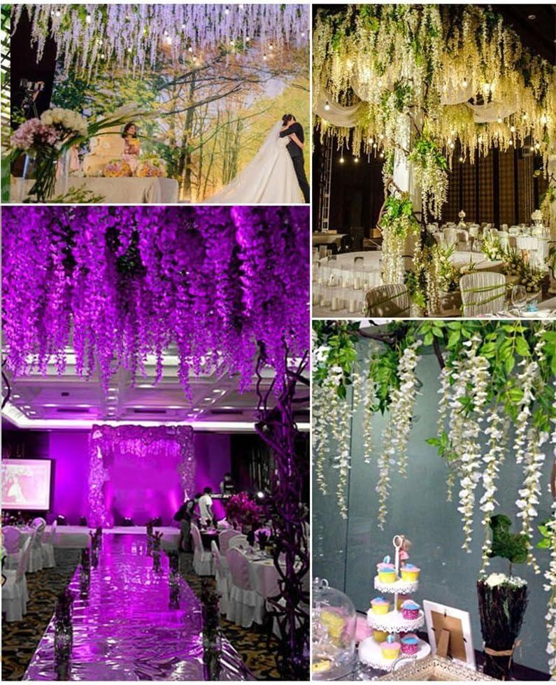 Houda Lot de 12 Guirlandes de fleurs en soie artificielle Guirlande de Vigne Ratta /à suspendre pour F/ête Maison Mariage D/écor 101,6/cm,