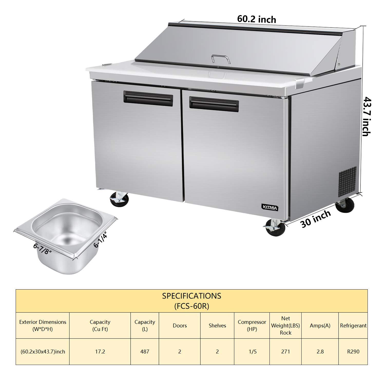 KITMA Mesa de preparación para sándwich refrigerador y ...