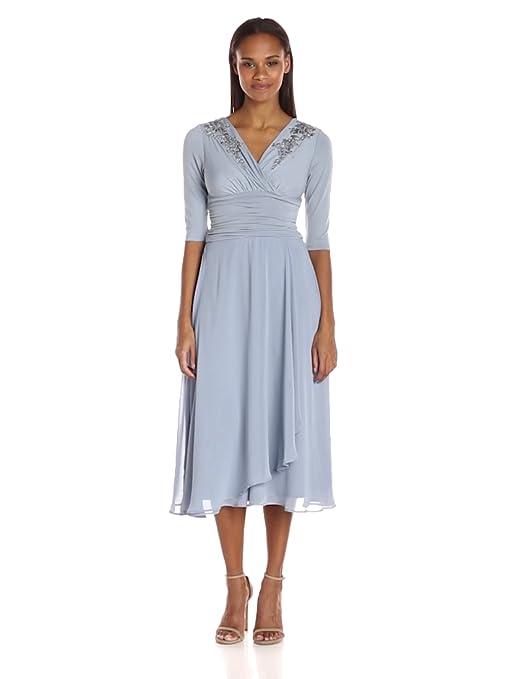 1940s Style Dresses | 40s Dress, Swing Dress Sangria Womens Draped Chiffon 3/4 Sleeve Dress $110.00 AT vintagedancer.com