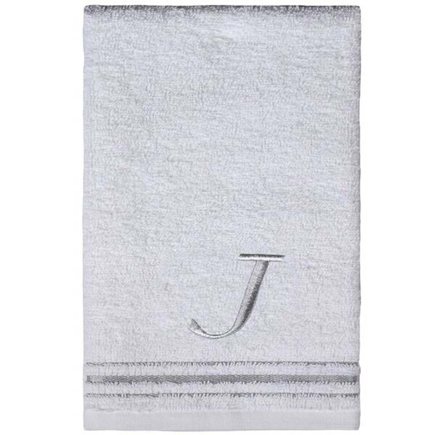 Saturday Knight Classic Script Monogram White Turkish Cotton Towel, 16-Inch by 25-Inch Hand Towel, Set of 2, Letter J