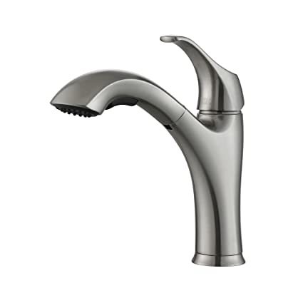 Kraus KPF-2250 Single Lever Pull-Out Kitchen Faucet, Stainless Steel ...