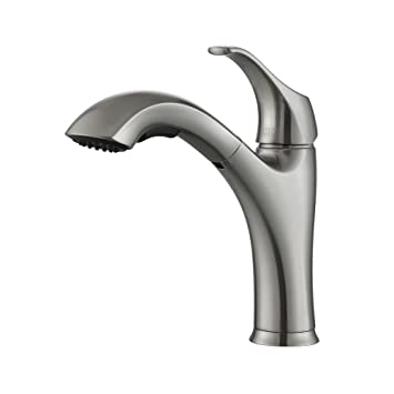 Kraus KPF 2250 Single Lever Pull Out Kitchen Faucet, Stainless Steel