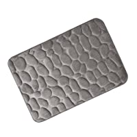 SheShy Memory Foam Pebbles Tapis de bain en roche 60x40cm Tapis de bain en microfibre anti-fongique antidérapant