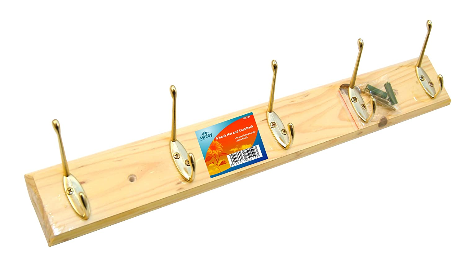 5 hook coat rack wooden