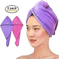BEQOOL Hair Turban Towel, 2PCS Magic Microfiber Hair Drying Towel Hair Towel Wrap With Button Ultra Absorbent Quick Dry