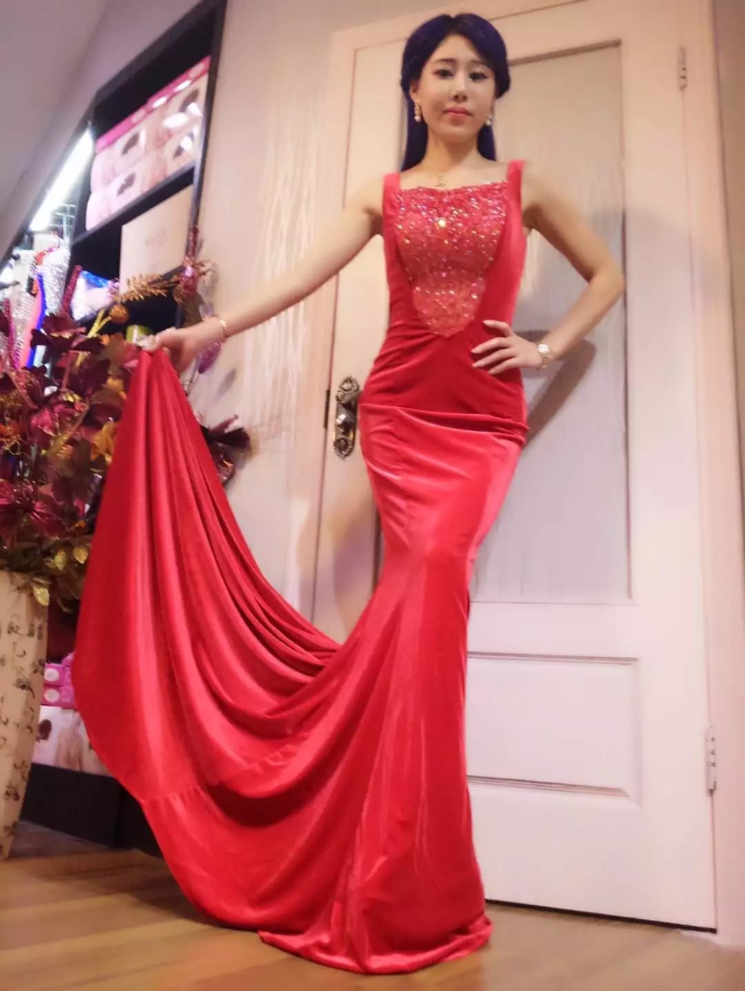 Fashion Gypsophila Women's Long Fitted Beading Sleeveless Mermaid Evening Gown Dress (0, Red)