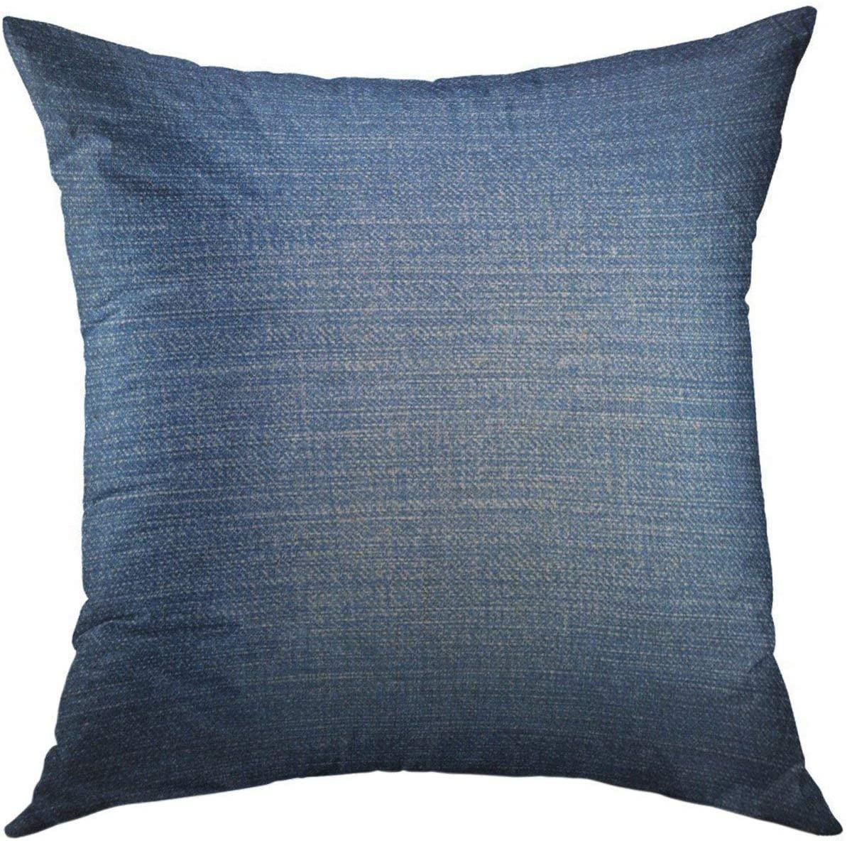 Mugod Decorative Throw Pillow Cover for Couch Sofa,Black Denim of Blue Jeans Blank Canvas Cotton Linen Home Decor Pillow Case 18x18 Inch