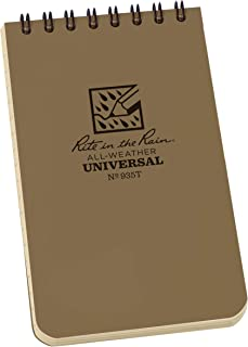 """product image for Rite in the Rain Weatherproof Top Spiral Notebook, 3"""" x 5"""", Tan Cover, Universal Pattern, 6 Pack (No. 935TL6)"""