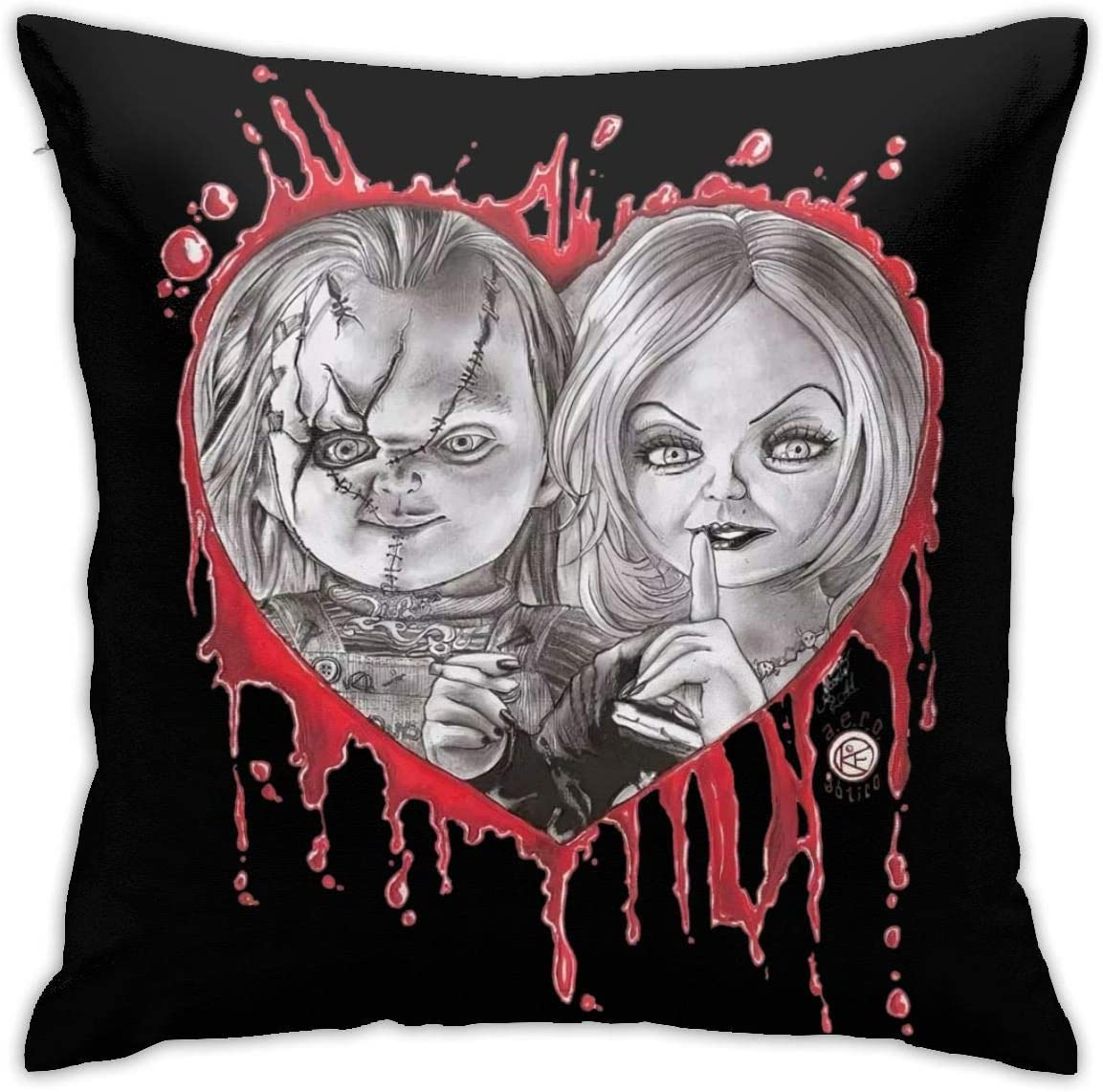 Kaopey Chucky Doll Decorative Square Throw Pillow Covers Set Cushion Case for Sofa Bedroom Car 18 X 18 in