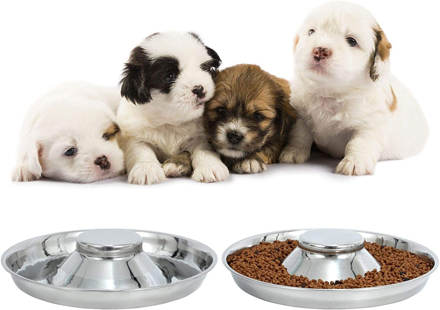 LEACOOLKEY Stainless Steel Dog Bowl-Puppy Feeder Food/Water Bowl-Puppy Feeding Bowls for Litters-Pet Feeder Bowl Whelping/Weaning Dishes Feeder for Small/Medium/Large Dogs Ste of 2