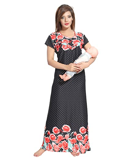 600faa45f60a4 Image Unavailable. Image not available for. Color: Be You Black Serena  Satin Printed Women's Feeding/Maternity Gowns