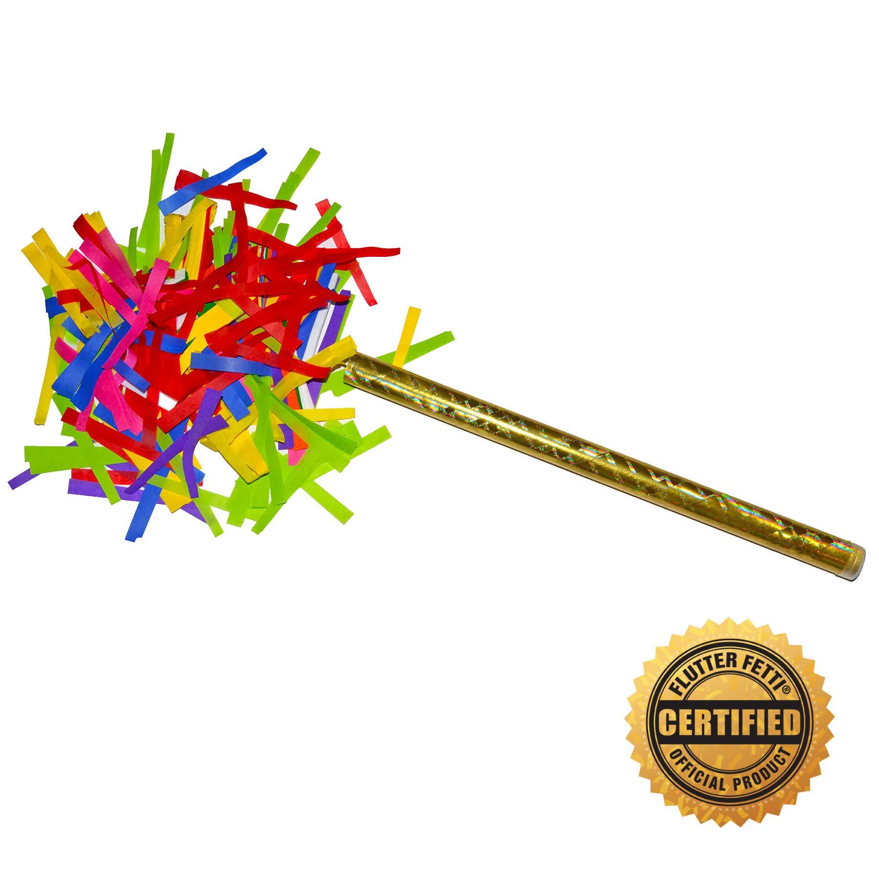 Flutter FETTI 14'' Corkscrews Confetti Sticks - Hand Flick Launcher - Multicolor - 10 Pack