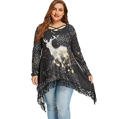 82f56aed61b05 CharMma Women s Plus Size Christmas Reindeer Asymmetrical Lace Hem Tunic  Top (Black